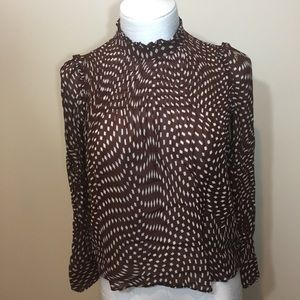 Zara Top Size Small Ruffle Brown White